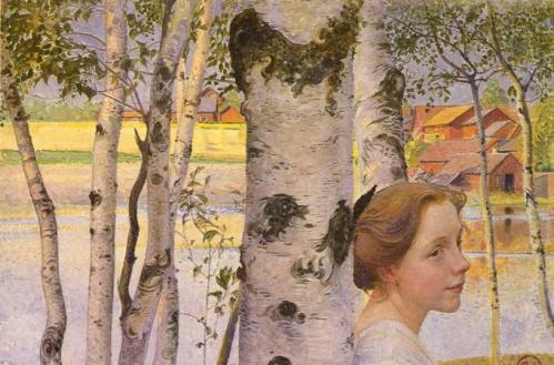Carl Larsson: Lisbeth a nyírfánál