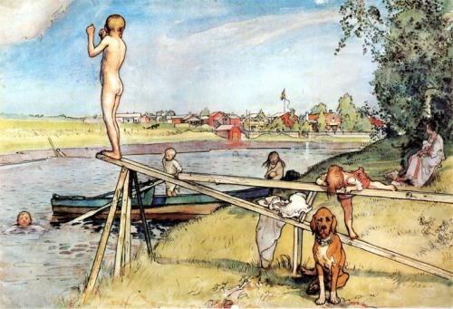 Carl Larsson: Jó hely az úszásra