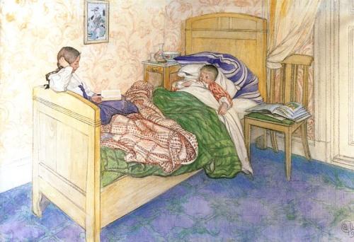 Carl Larsson: Anya ágyában