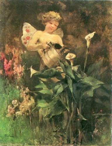 Carl Larsson: Virágot öntöző angyal